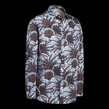 Chemise Africaine AFFASO Jungle Leafs blue