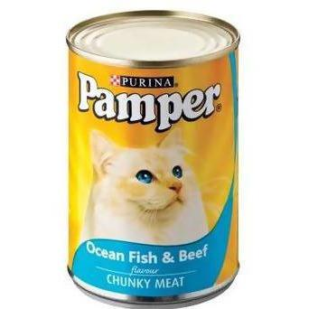 Cat food chunKy Ocean fish and beef flavour Pamper 400g - AfriMarket
