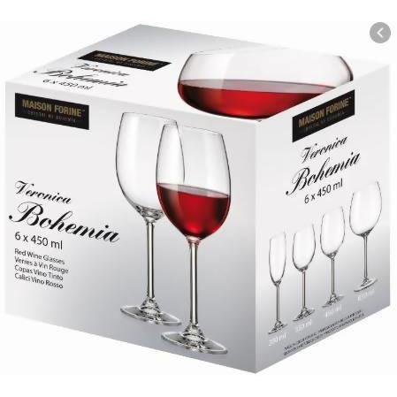 Glass wine red Bohemia 6x450ML - AfriMarket