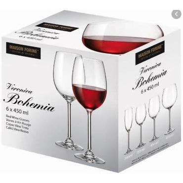 Glasses wine red Bohemia 6x450ML - AfriMarket