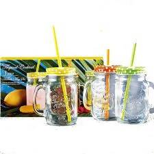 GLASS JAR COCTAIL TROPICAL 3PC - AfriMarket