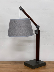 Cherry table lamp with grey shade