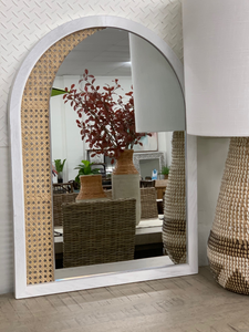 Arched whitewash mirror with rattan