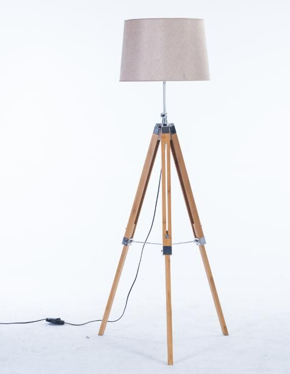 Bamboo tripod floor lamp- adjustable height