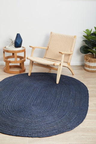 Bondi jute braided oval rug- navy