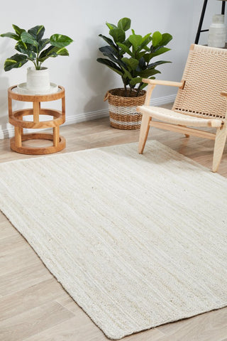 Bondi jute braided rug- white