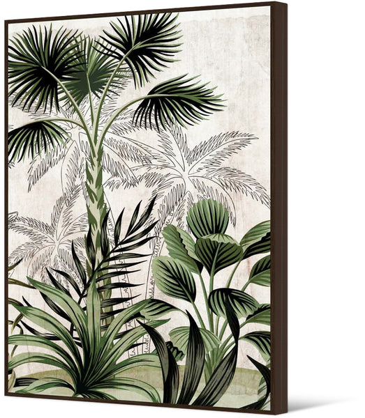 Jungle foliage framed canvas art