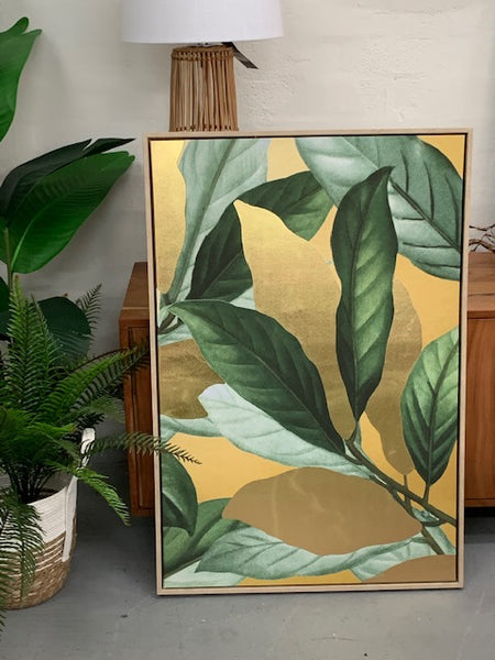 Leafy green & gold framed canvas