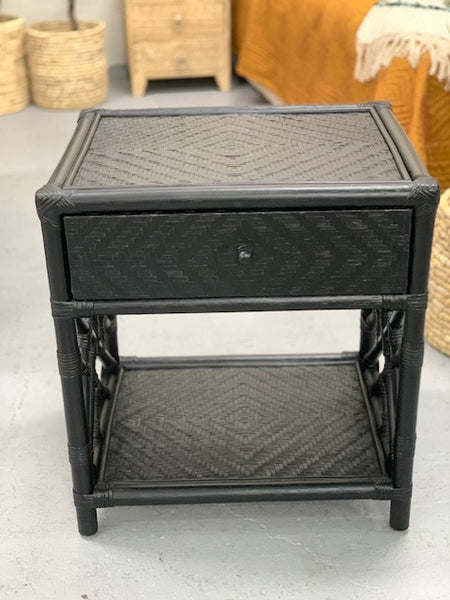 Rattan 1 DRW side table BLACK
