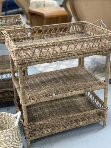 3 tier rattan shelf with tray