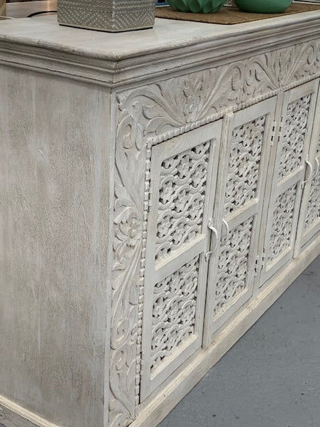 4 Door Indian carved sideboard (whitewash)