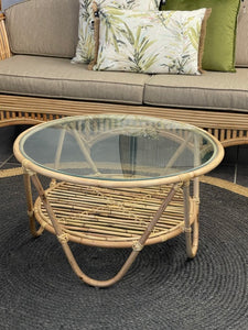 Adalyn glass top coffee table