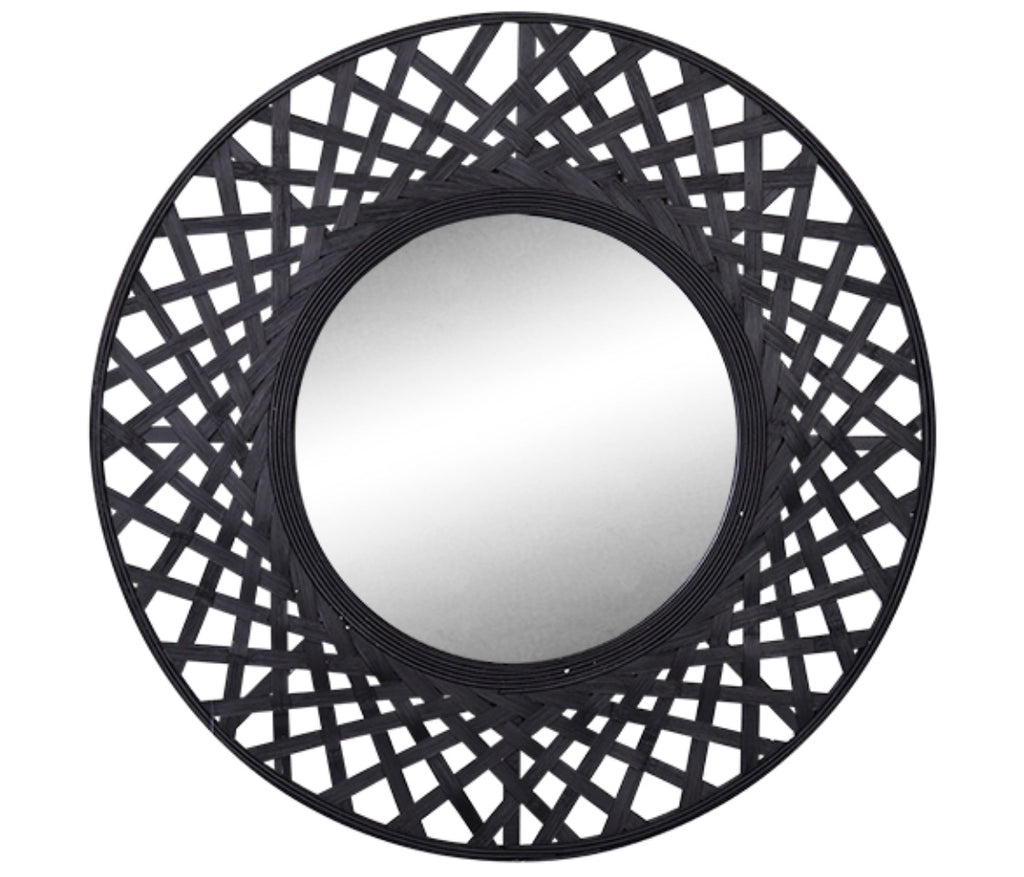Noir Round Rattan Mirror Destination Furniture