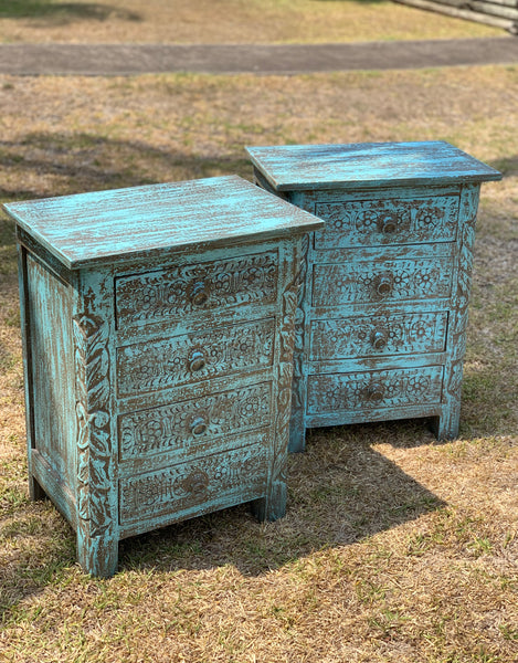 Indian 3 drawer carved bedside table