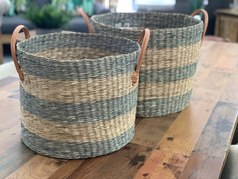 Layla striped seagrass baskets