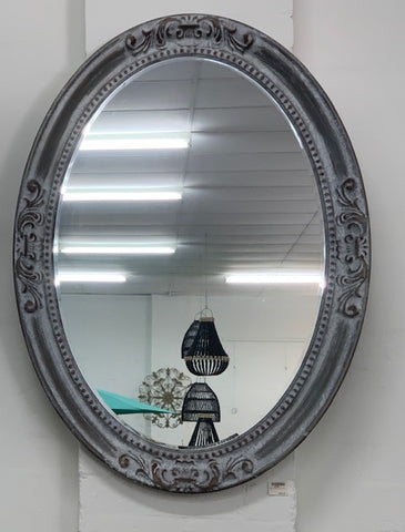 Oval mirror metal frame