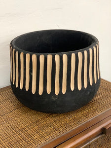 Wooden planter pot black and natural