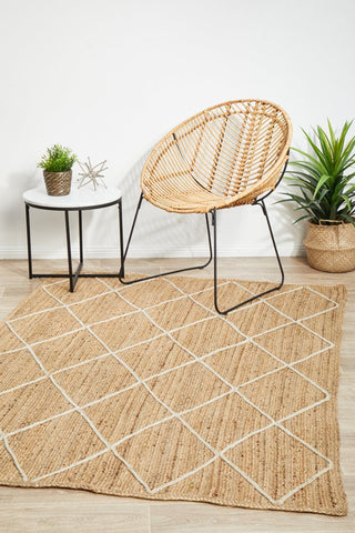 Noosa jute white diamond rug