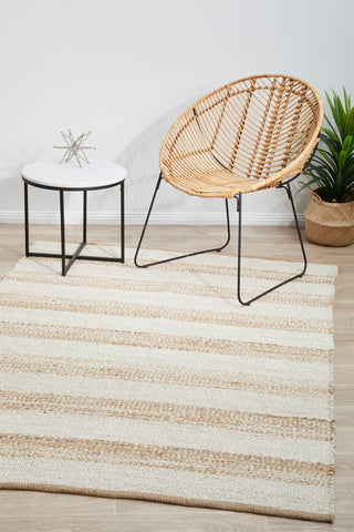 Noosa natural + white jute stripe rug