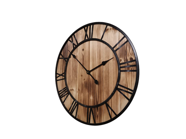 Timber and metal wall clock