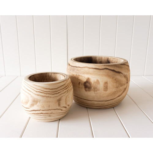 Leilani set 2 timber pots