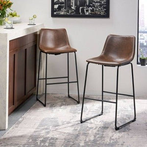 "Set of 2 30"" Cedric Faux Leather Barstool Vintage Brown - Christopher Knight Home EB2715"