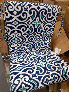 (Set of 5) Blue/ White/Teal Indoor/Outdoor Dining Chair Cushions  #4091