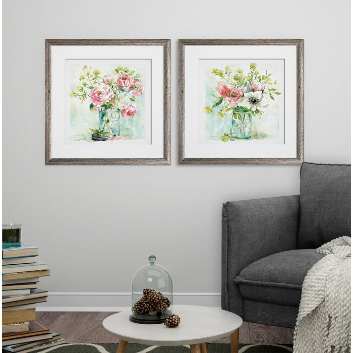 16 x 16 'Asbury Garden' 2 Piece Framed Print Set  #4192