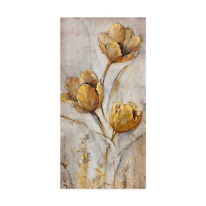 'Golden Poppies on Taupe I' Acrylic Painting Print on Wrapped Canvas  #5292