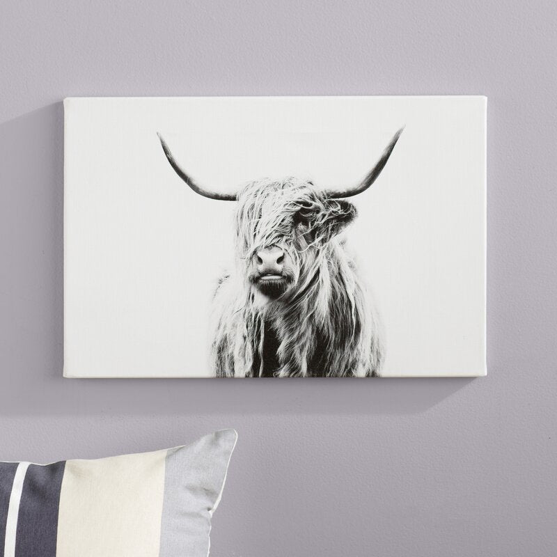 'Portrait of a Highland Cow' - Photograph Print wrapped in canvas #6093