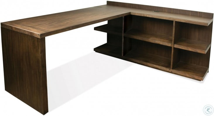 Perspectives Brushed Acacia L Desk  in Brown   #4310