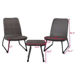 Rio Brown 3-Piece All Weather Patio Seating Set- color:  sparkling gray  #5020