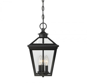 Elijay 3 Light In 9 Inch Outdoor Hanging Lantern Black With Clear Glass  #5006