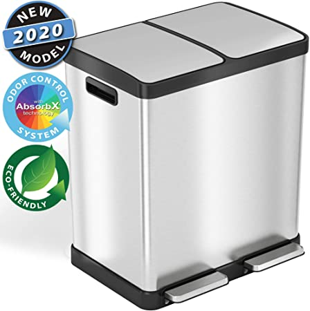 iTouchless SoftStep 16 Gallon Step Trash Can & Recycle Bin 3206