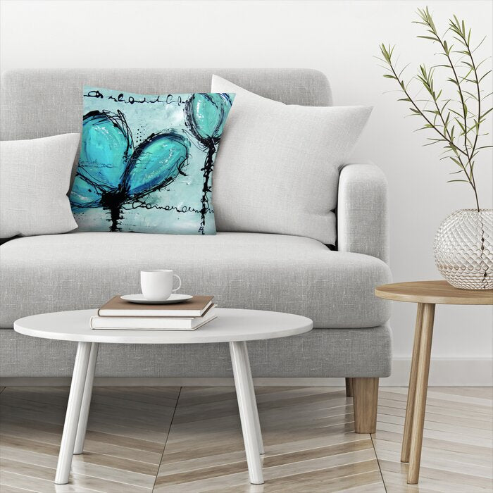 Gray/Blue/Black Adaliz Fleurs Turquoise Throw Pillow #5082