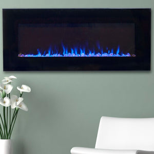 "18"" H x 42"" W x 5.5"" D Black Aida Wall Mounted Electric Fireplace  #4139"
