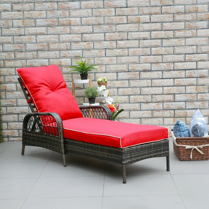 Red Aldusa Reclining Chaise Lounge with Cushion