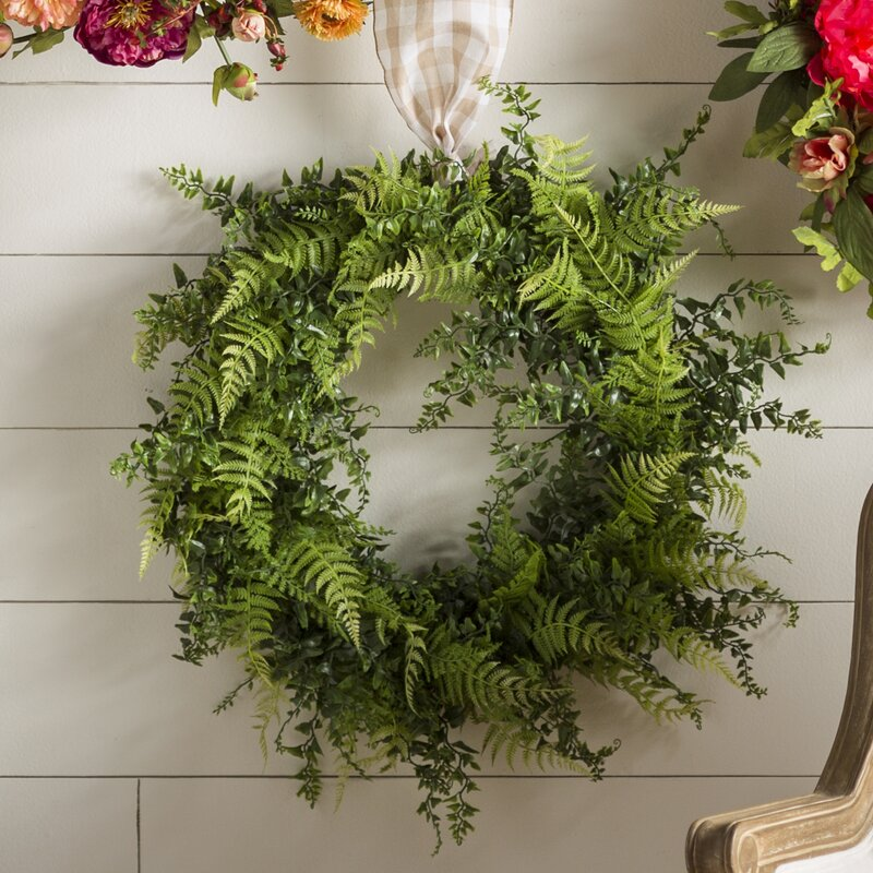 Artificial Buckler Fern and Grass Plastic Wreath #6123