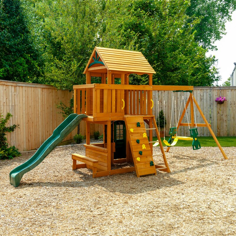 Ashberry Wooden Swing Set 2023 (3 boxes and a slide)