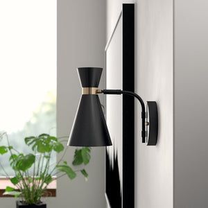 Black Austrinus 1-Light Dimmable Satin Armed Sconce  #4094