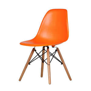 Molded Plastic Mid-Century Side Chair in Orange #4012
