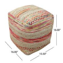 "Load image into Gallery viewer, Bartow 16"" Square Striped Pouf Ottoman  #5373"