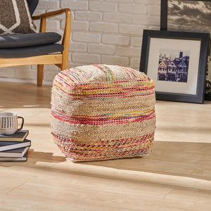 "Bartow 16"" Square Striped Pouf Ottoman  #5373"