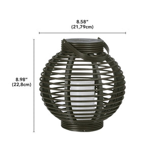 (Set of 2)Basket Brown Outdoor Lantern with Electric Candle  #5342