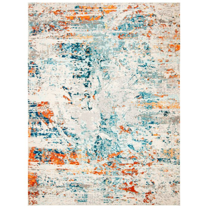Gutierez Abstract Cream/Orange/Blue Rug 6' X 9' #6064