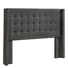 Load image into Gallery viewer, Bourgeois Upholstered Eastern Wingback Headboard (charcoal gray)  #5132