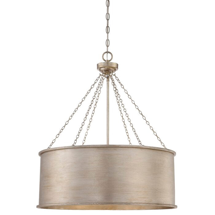 Bowe 6 - Light Shaded Drum Chandelier in Silver Patina  #4224