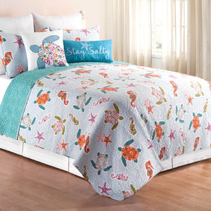 King Quilt + 2 Shams Light Blue/Orange Brazell Quilt Set 3226