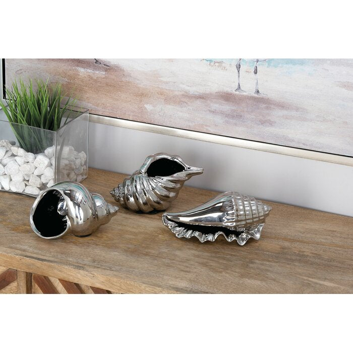 Brentwood 3 Piece Decorative Ceramic Shell Set -silver  #5090