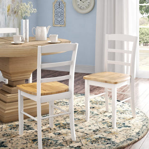 White and Natural Brianne Solid Wood Dining Chair Set of 2    #4504